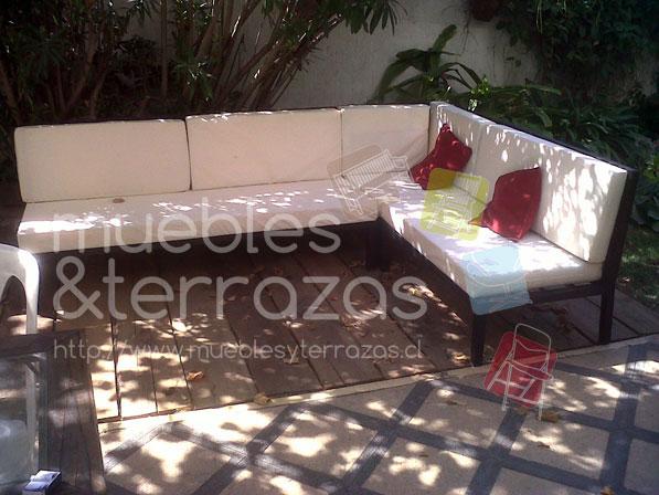 Juego de living fierro seccional modular en for Muebles terraza fierro