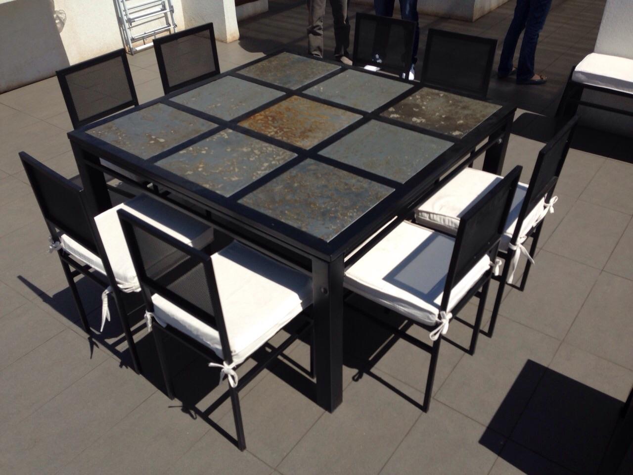 Comedor 8 personas cuadrado en fierro muebles y terrazas - Comedor terraza ...