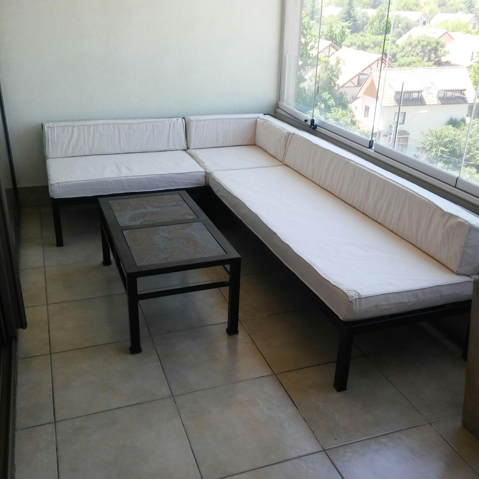 Living de terraza fierro seccional respaldo bajo 390 for Muebles terraza fierro