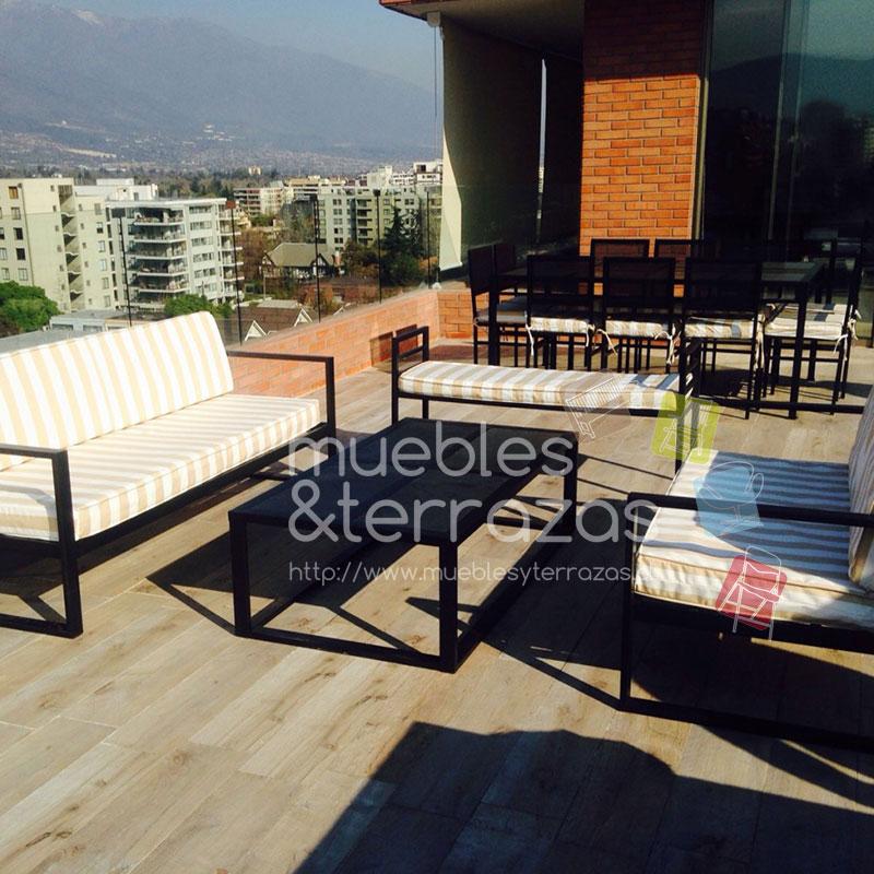 Juego de living fierro terraza modelo petrohue for Muebles terraza fierro