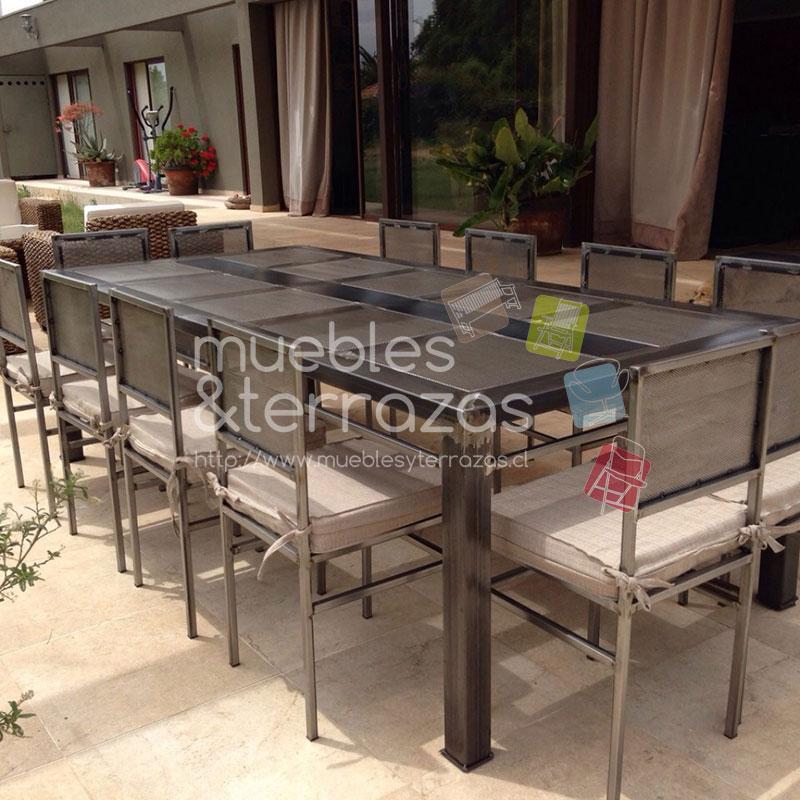 Comedor 2 60 1 20 metal fierro cubierta cuadros malla para for Reposeras para terrazas