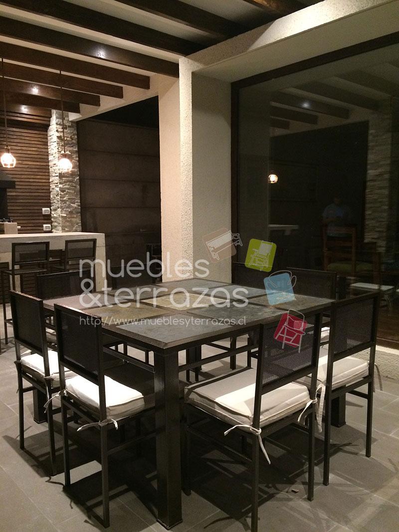 Comedor fierro metal para terraza cuadrado cubierta piedra for Muebles terraza fierro