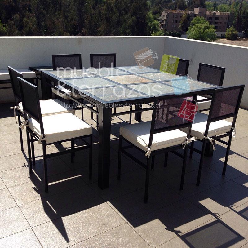 comedor-fierro-metal-para-terraza-cuadrado-cubierta-piedra-pizarra-8 ...