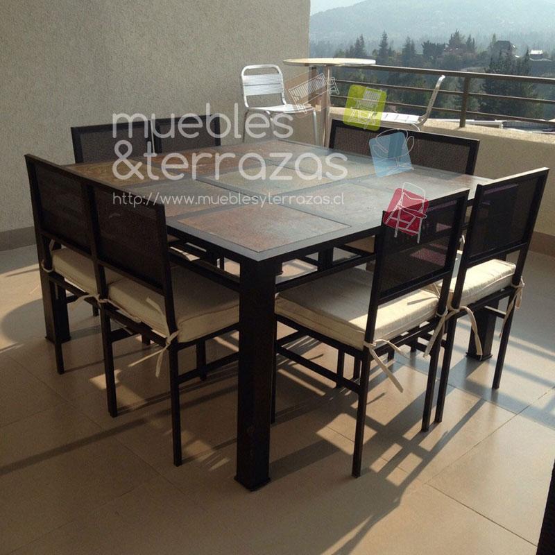 Comedor fierro metal para terraza cuadrado cubierta piedra for Sillas para comedor 2016